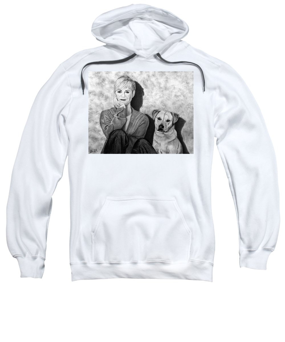 Bonnie Hunt And Charlie Sweatshirt featuring the drawing Bonnie Hunt And Charlie by Peter Piatt