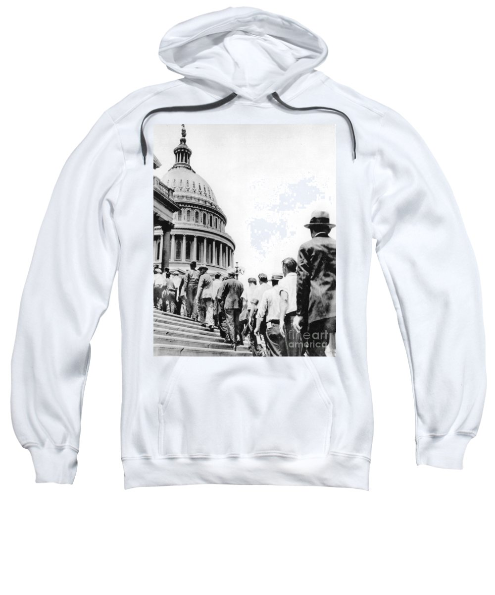 1932 Sweatshirt featuring the photograph Bonus Army Marchers, 1932 by Granger