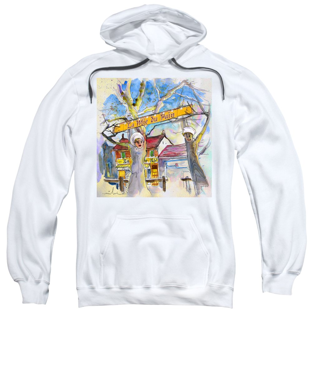 Pyrenees Sweatshirt featuring the painting Borderes Sur Echez 01 by Miki De Goodaboom