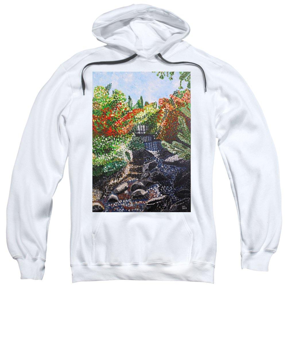 Landscape Sweatshirt featuring the painting Botanic Garden Merano 1 by Valerie Ornstein