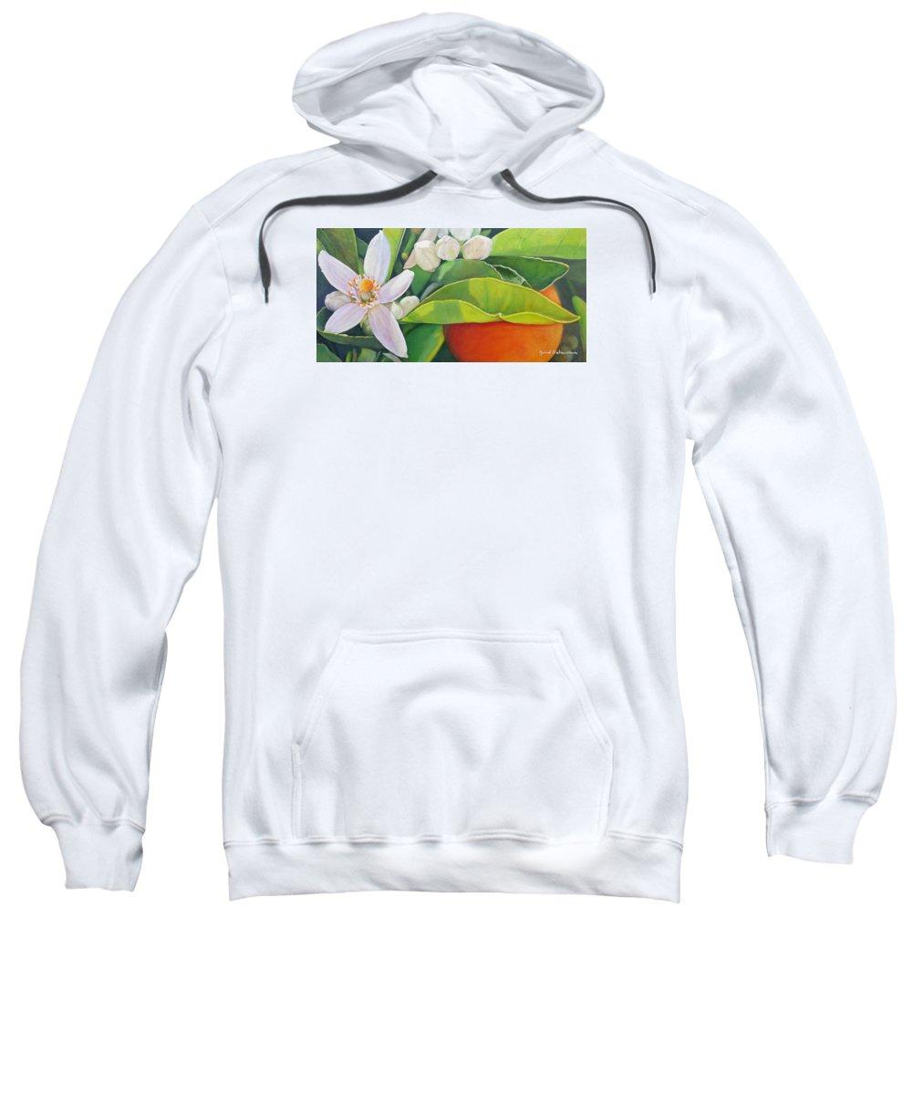 Floral Painting Sweatshirt featuring the painting Boutons, Orange et Fleur by Muriel Dolemieux