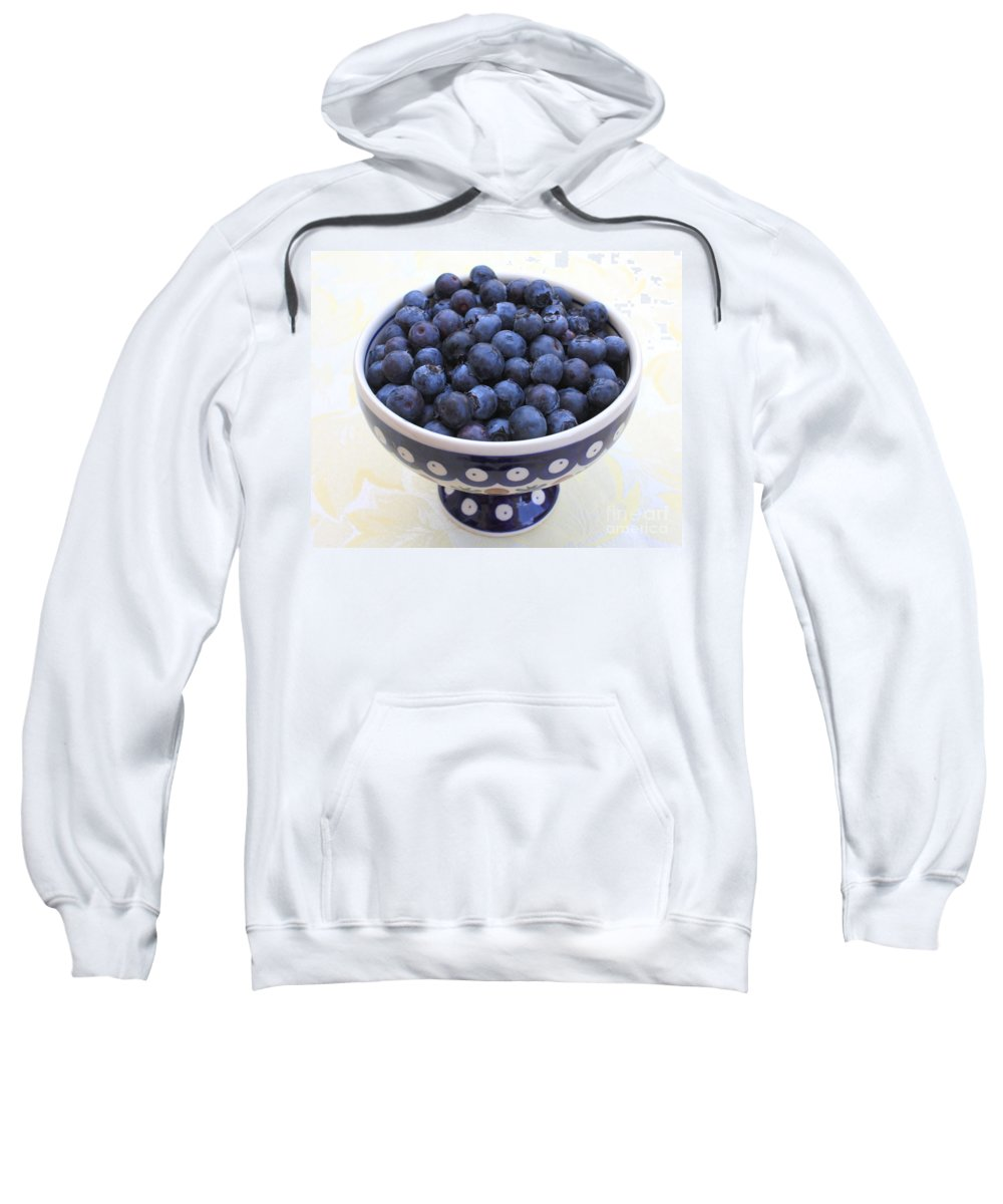 Blueberries Sweatshirt featuring the photograph Bowl Of Blueberries by Carol Groenen