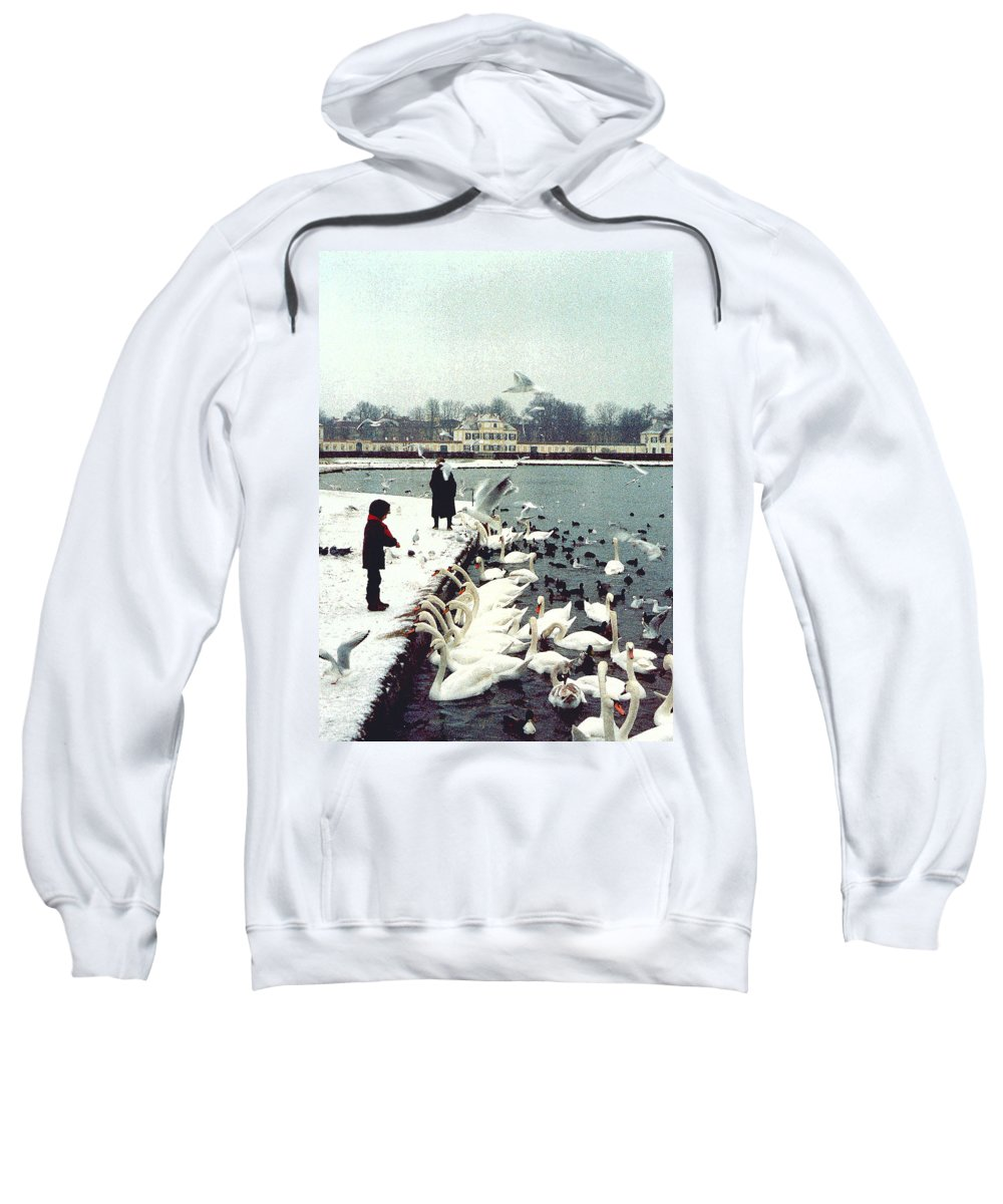 Swans Sweatshirt featuring the photograph Boy Feeding Swans- Germany by Nancy Mueller