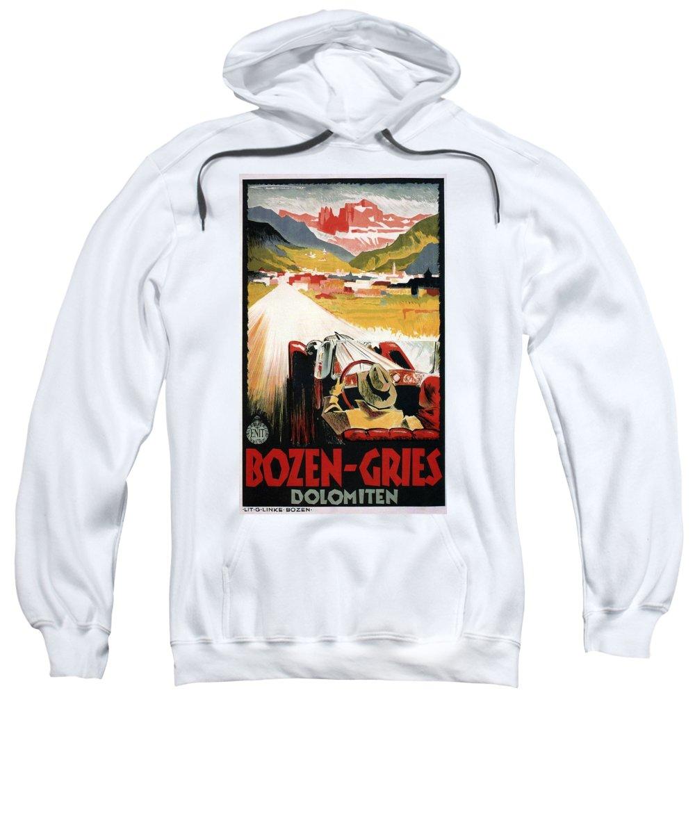 Car Sweatshirt featuring the mixed media Bozen-gries - Dolomiten - Bolzano-gries - Retro Travel Poster - Vintage Poster by Studio Grafiikka