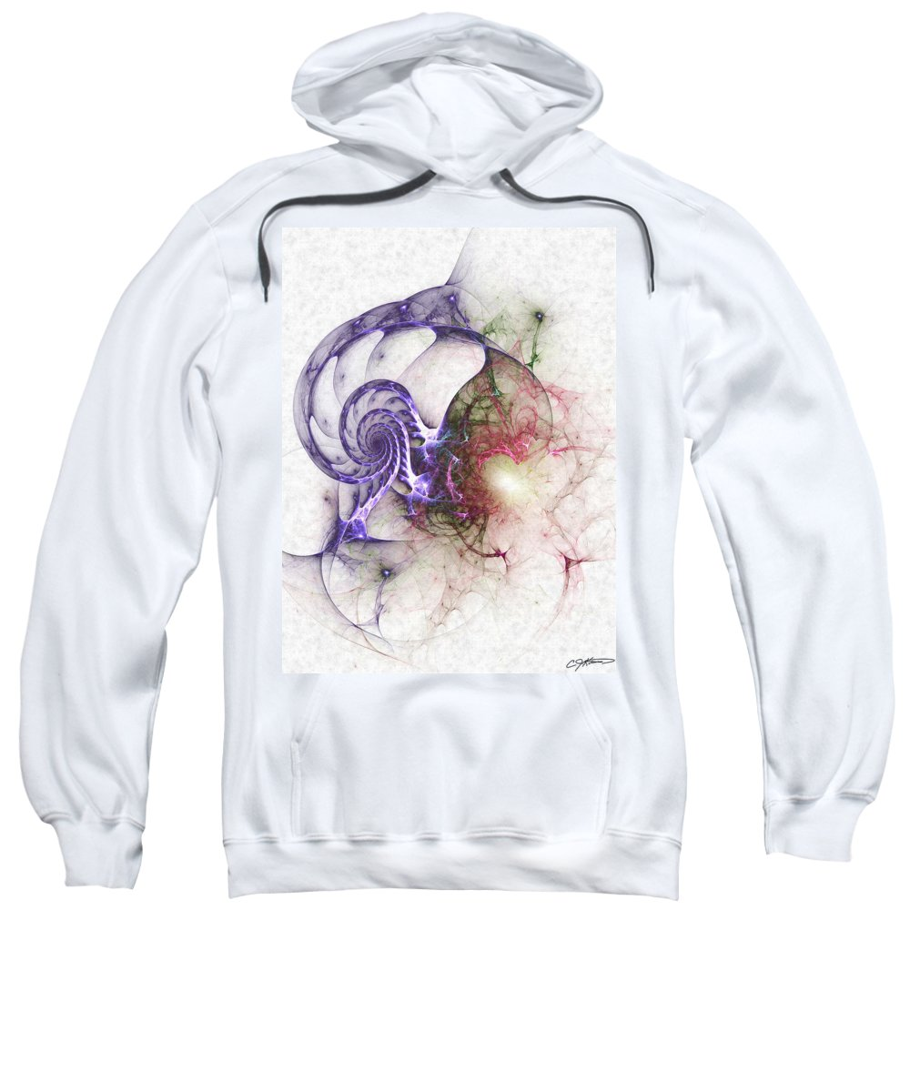 Abstract Sweatshirt featuring the digital art Brain Damage by Casey Kotas