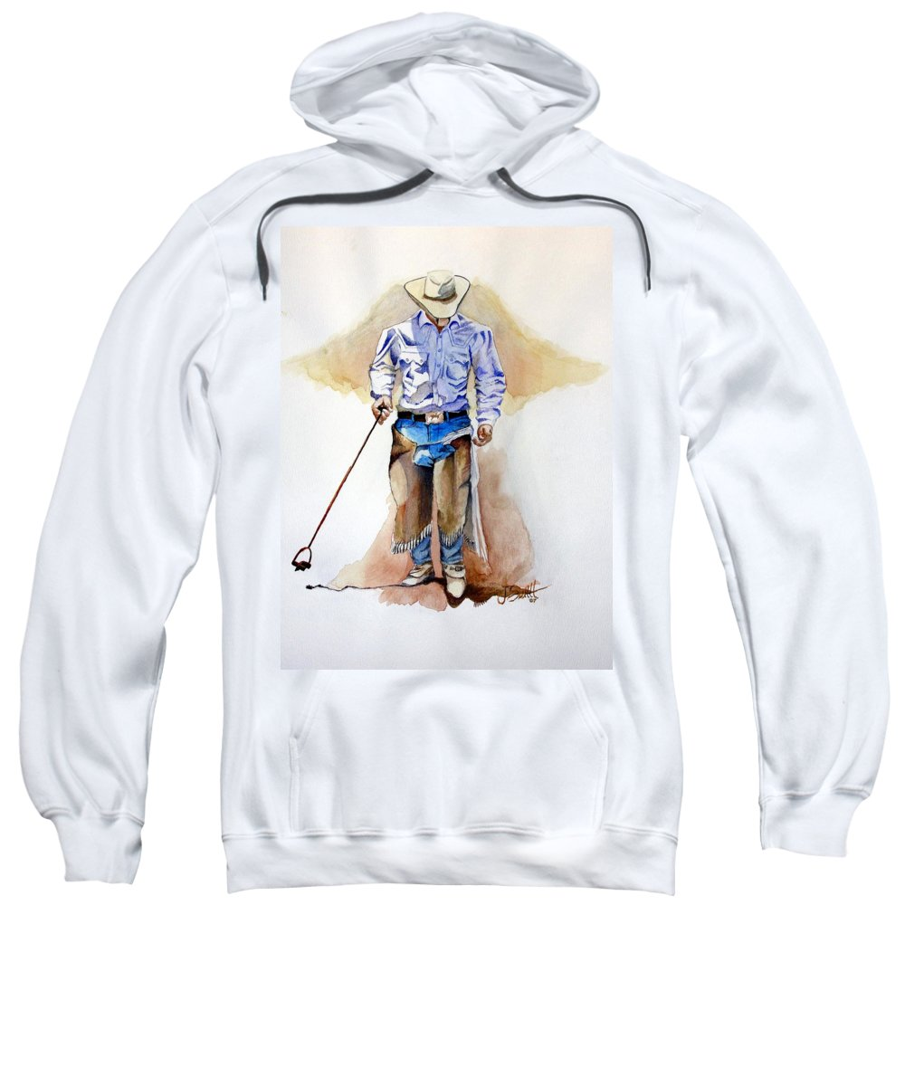 Western Sweatshirt featuring the painting Branding Blisters by Jimmy Smith