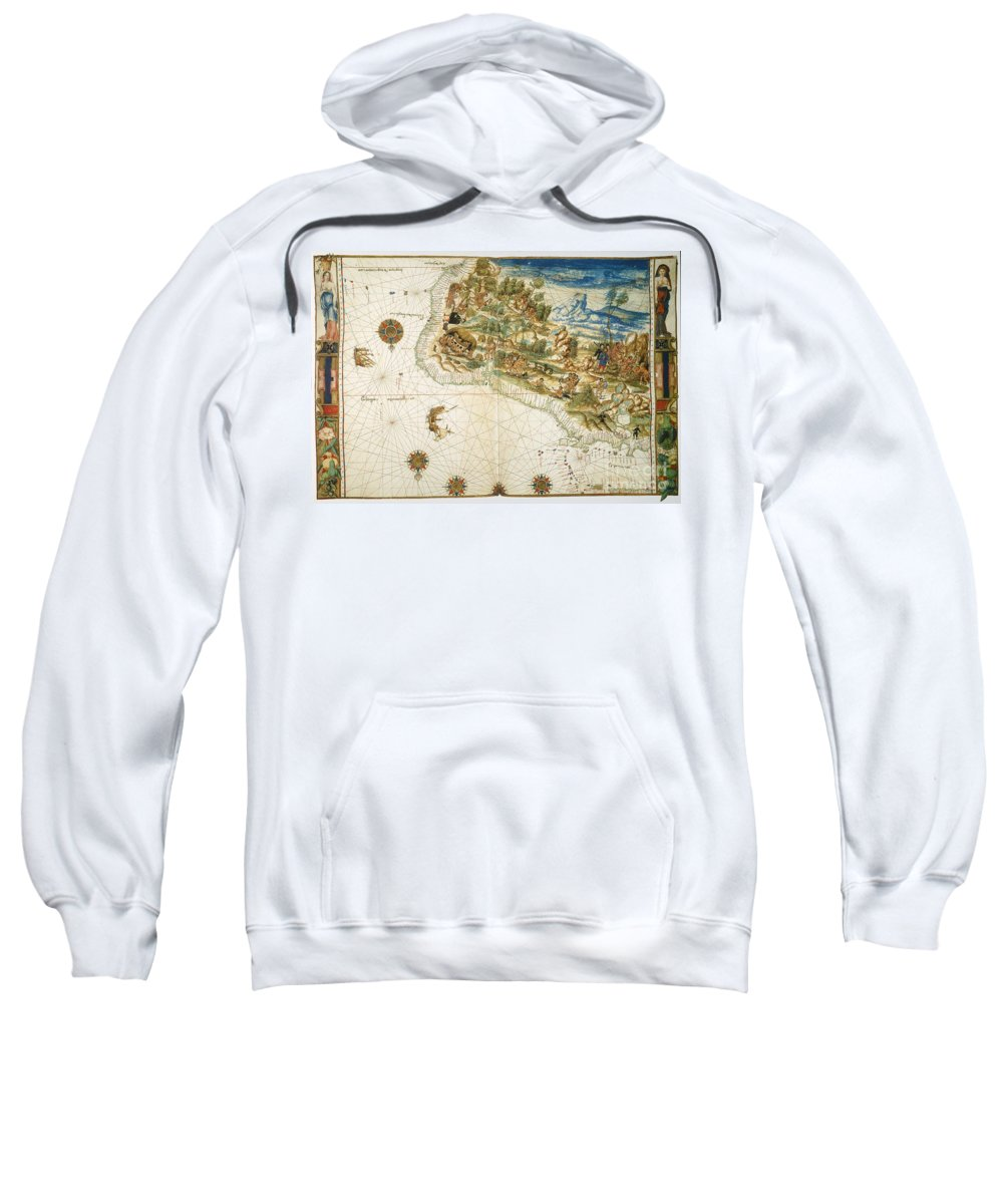1547 Sweatshirt featuring the photograph Brazil: Map And Native Indians by Granger