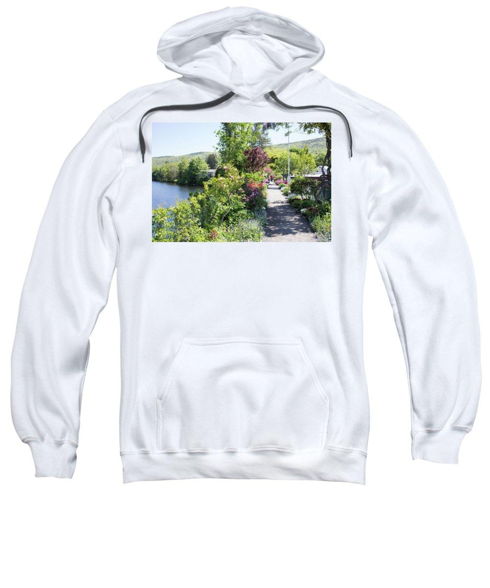 Bridge Of Flowers Sweatshirt featuring the photograph Bridge Of Flowers Walkway by Morgain Bailey