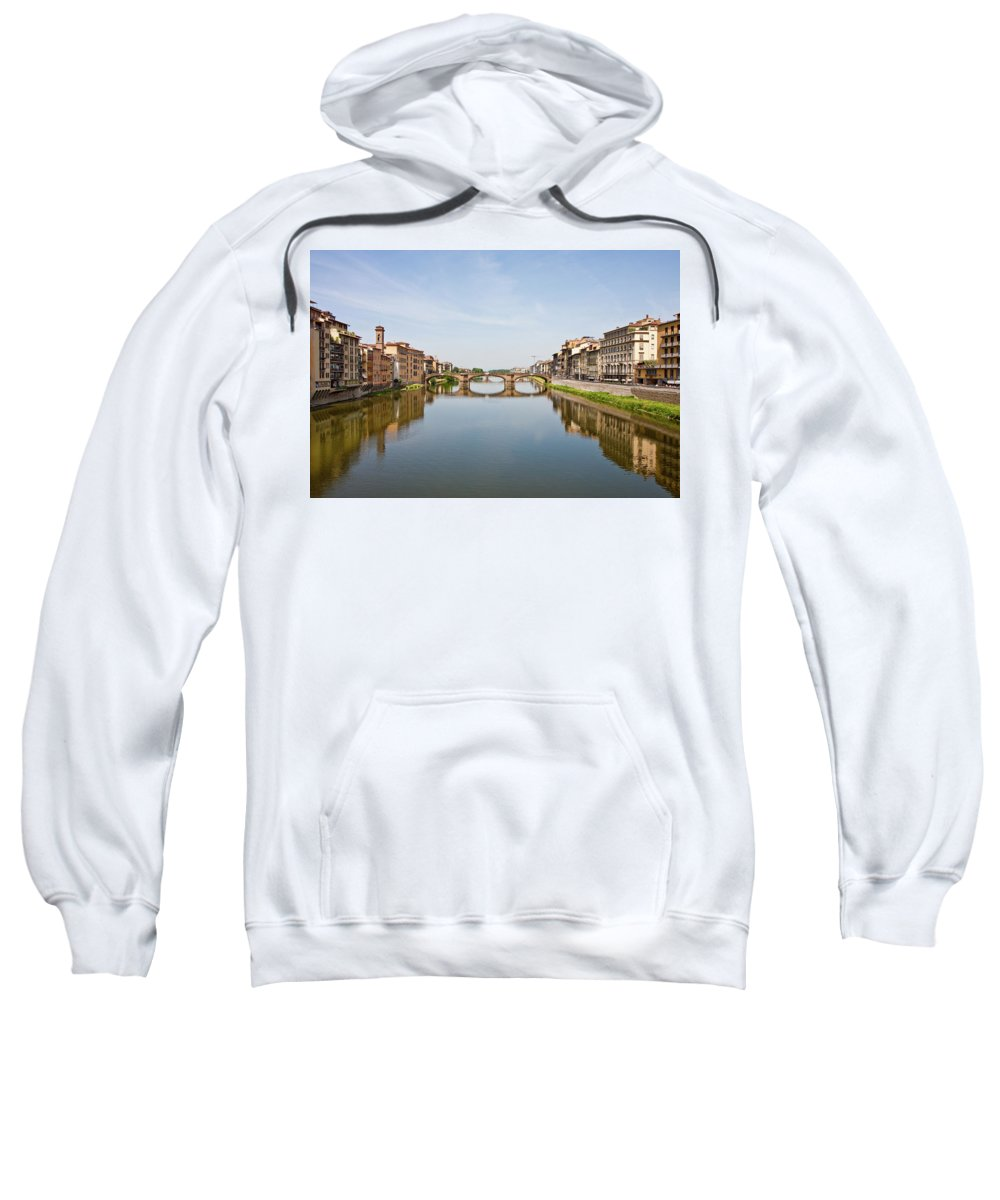 Arno Sweatshirt featuring the photograph Bridge Over Arno River In Florence Italy by Darryl Brooks