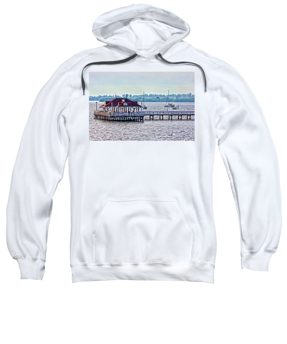 Bridge Street Pier Sweatshirt featuring the photograph Bridge Street Pier by HH Photography of Florida