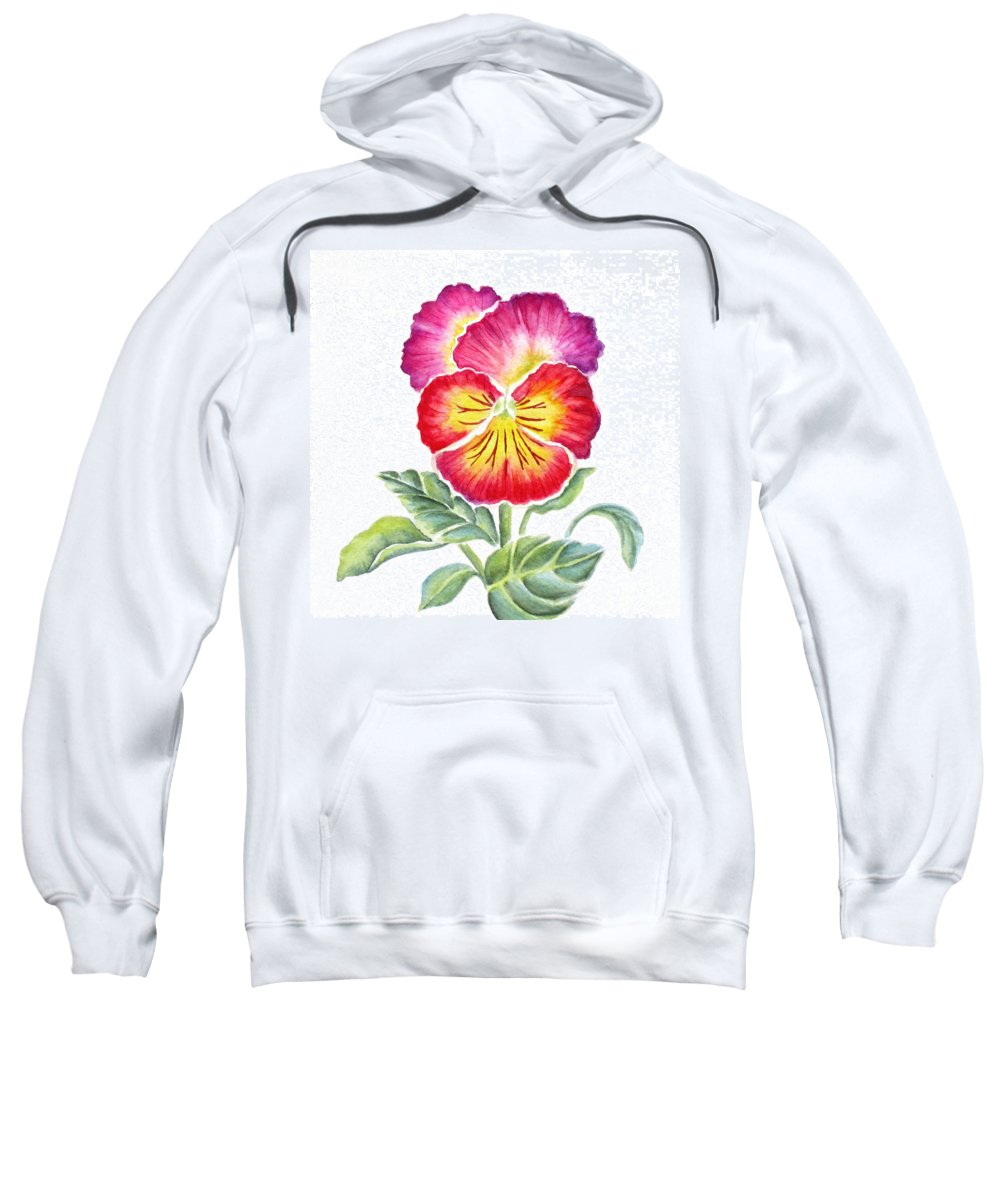 Bright Pansy Sweatshirt featuring the painting Bright Pansy by Deborah Ronglien