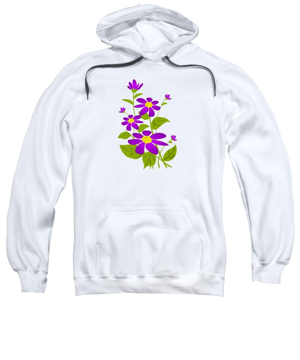 Plant Sweatshirt featuring the digital art Bright Purple by Anastasiya Malakhova