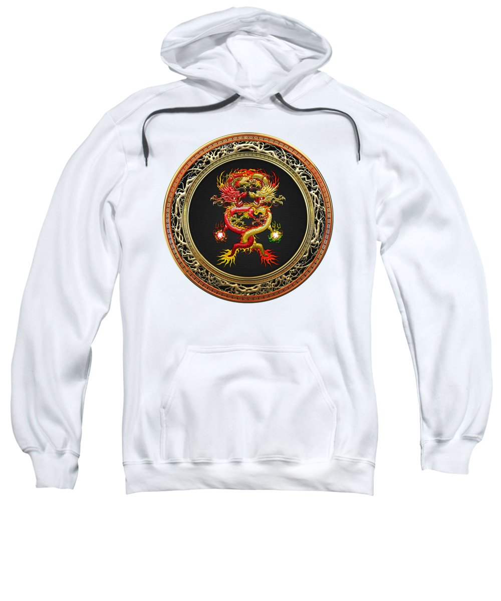'treasure Trove' Collection By Serge Averbukh Sweatshirt featuring the digital art Brotherhood Of The Snake - The Red And The Yellow Dragons On White Leather by Serge Averbukh