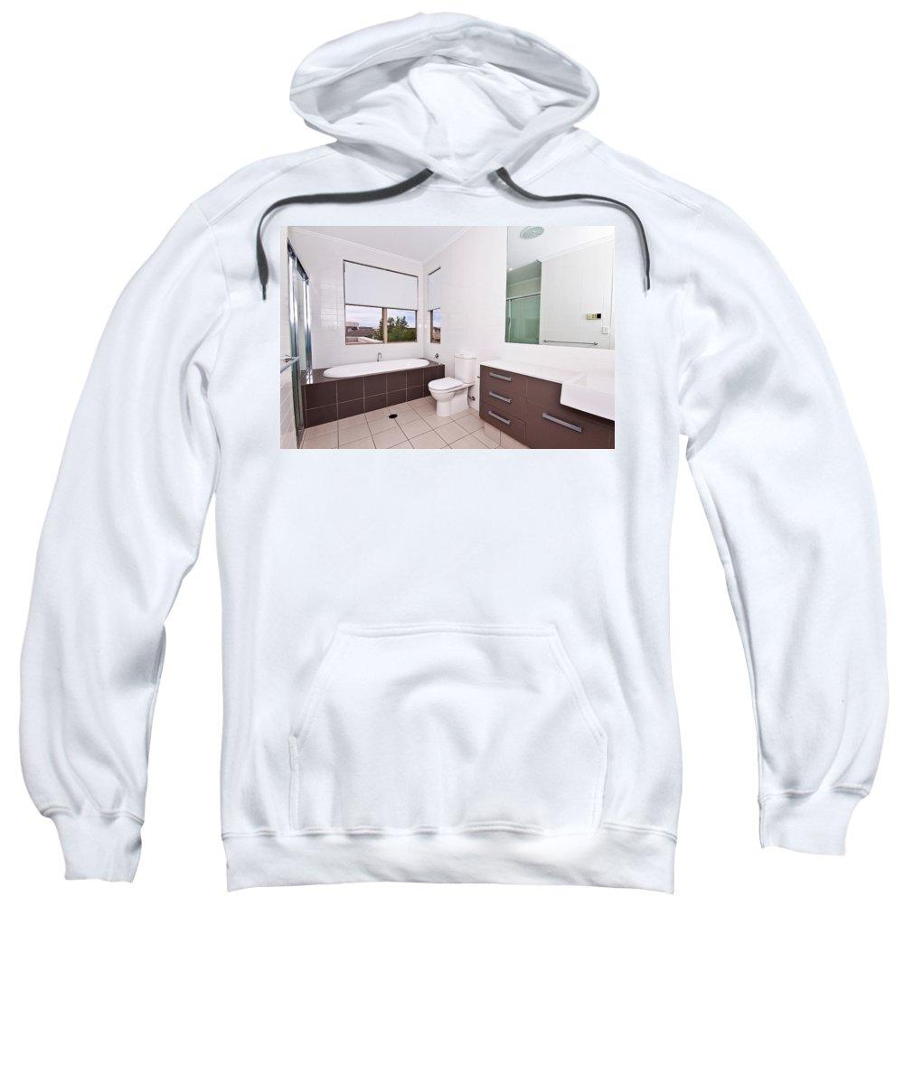 Brown Sweatshirt featuring the photograph Brown And White Bathroom by Darren Burton