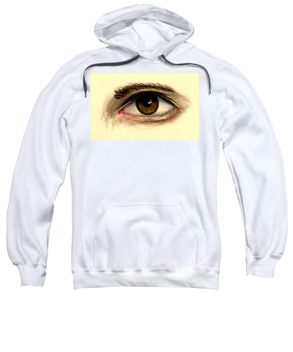 Eye Sweatshirt featuring the painting Brown Eye by Michael Vigliotti