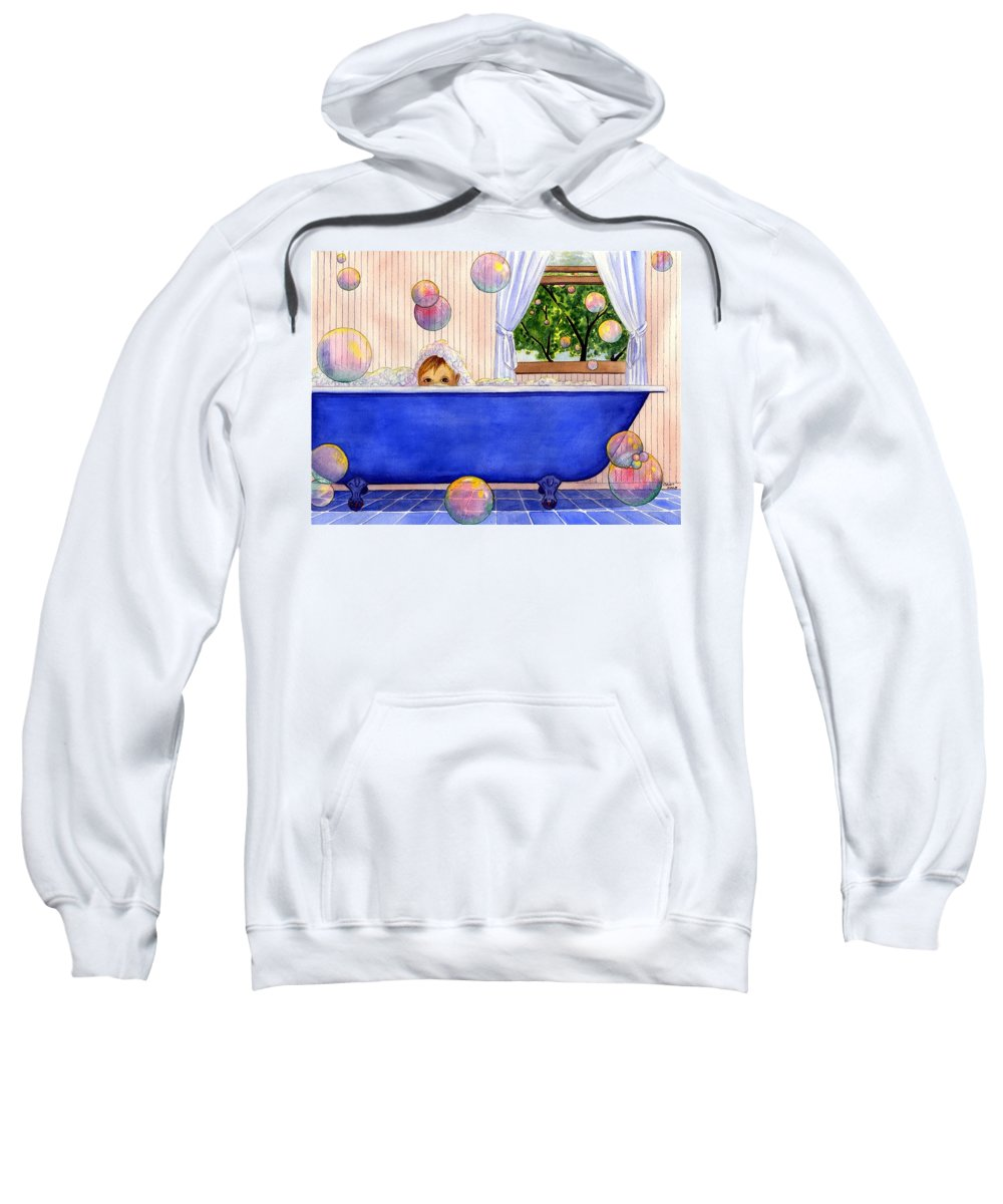 Bath Sweatshirt featuring the painting Bubbles by Catherine G McElroy
