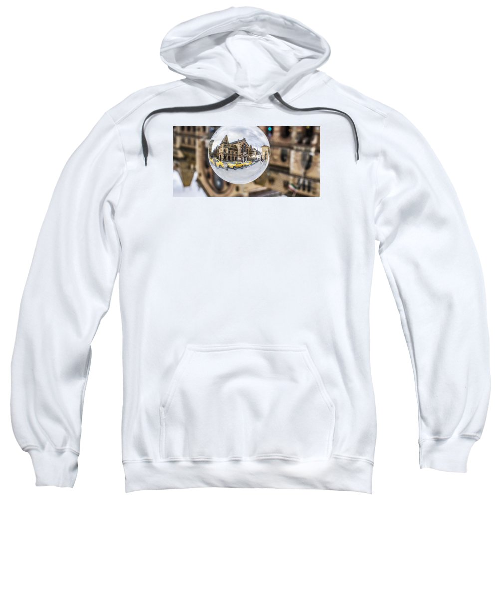 Budapest Sweatshirt featuring the photograph Budapest Globe - Great Market Hall by Gabor Tokodi