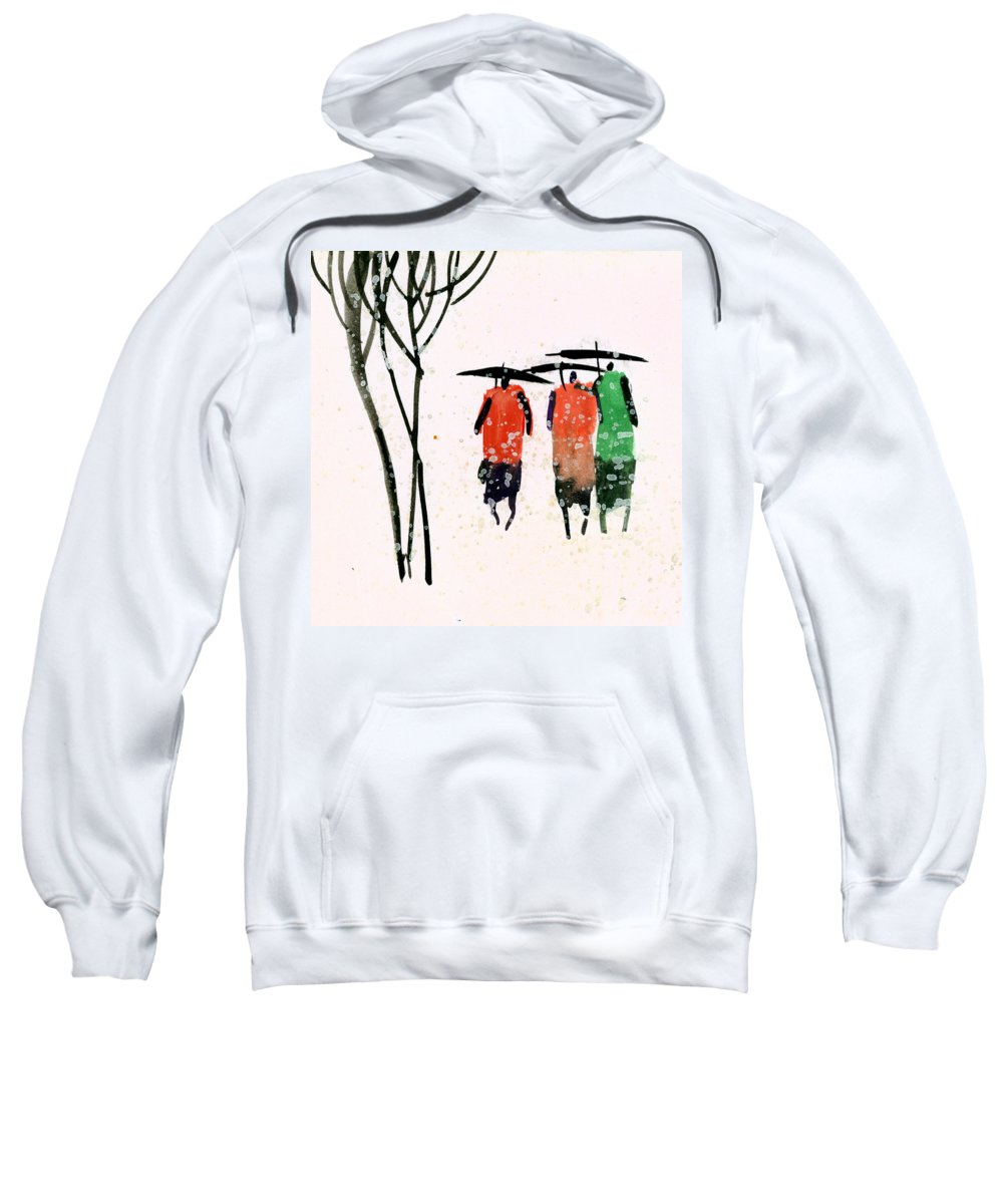 People Sweatshirt featuring the painting Buddies 3 by Anil Nene