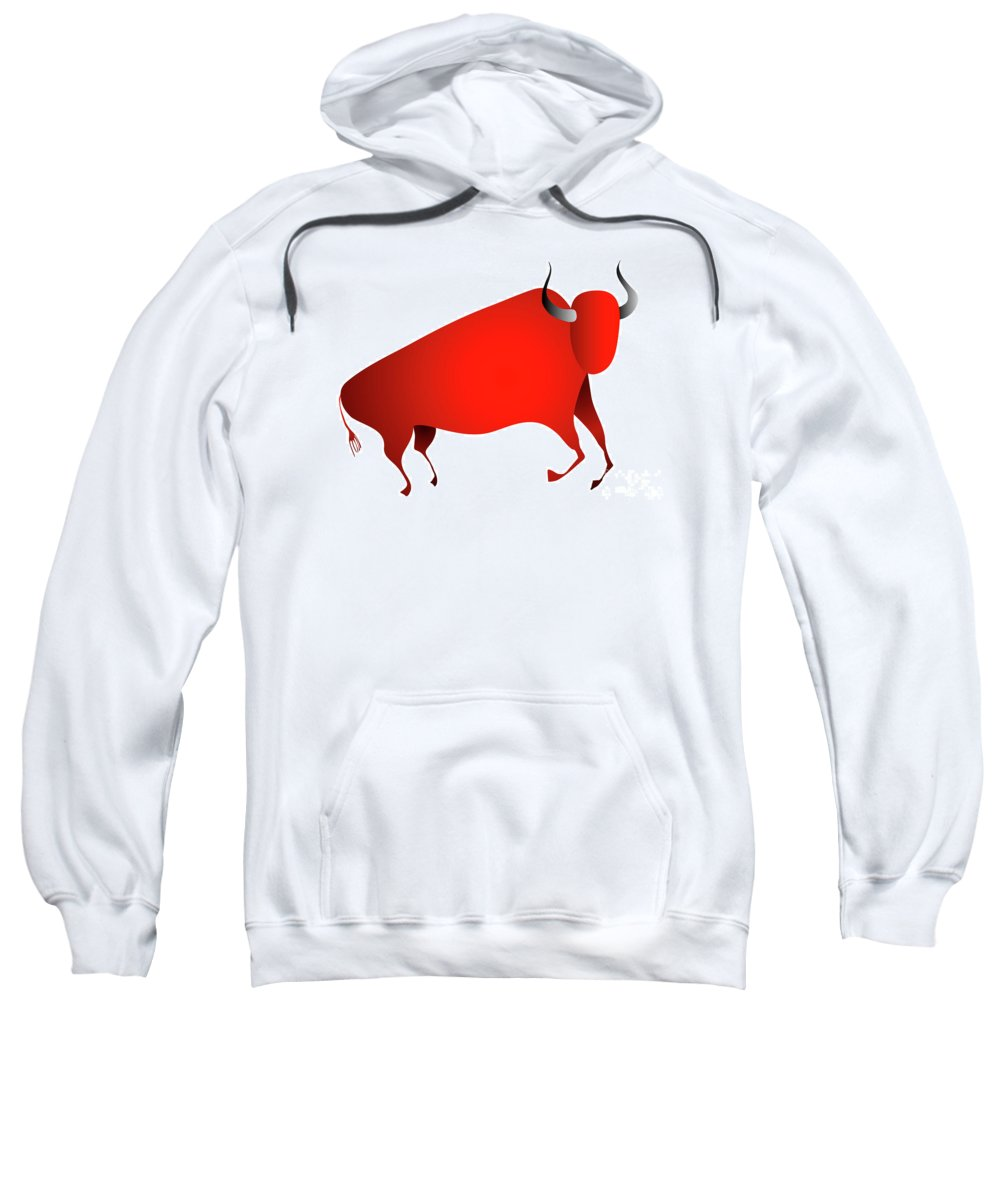 Bison Sweatshirt featuring the digital art Bull Looks Like Cave Painting by Michal Boubin