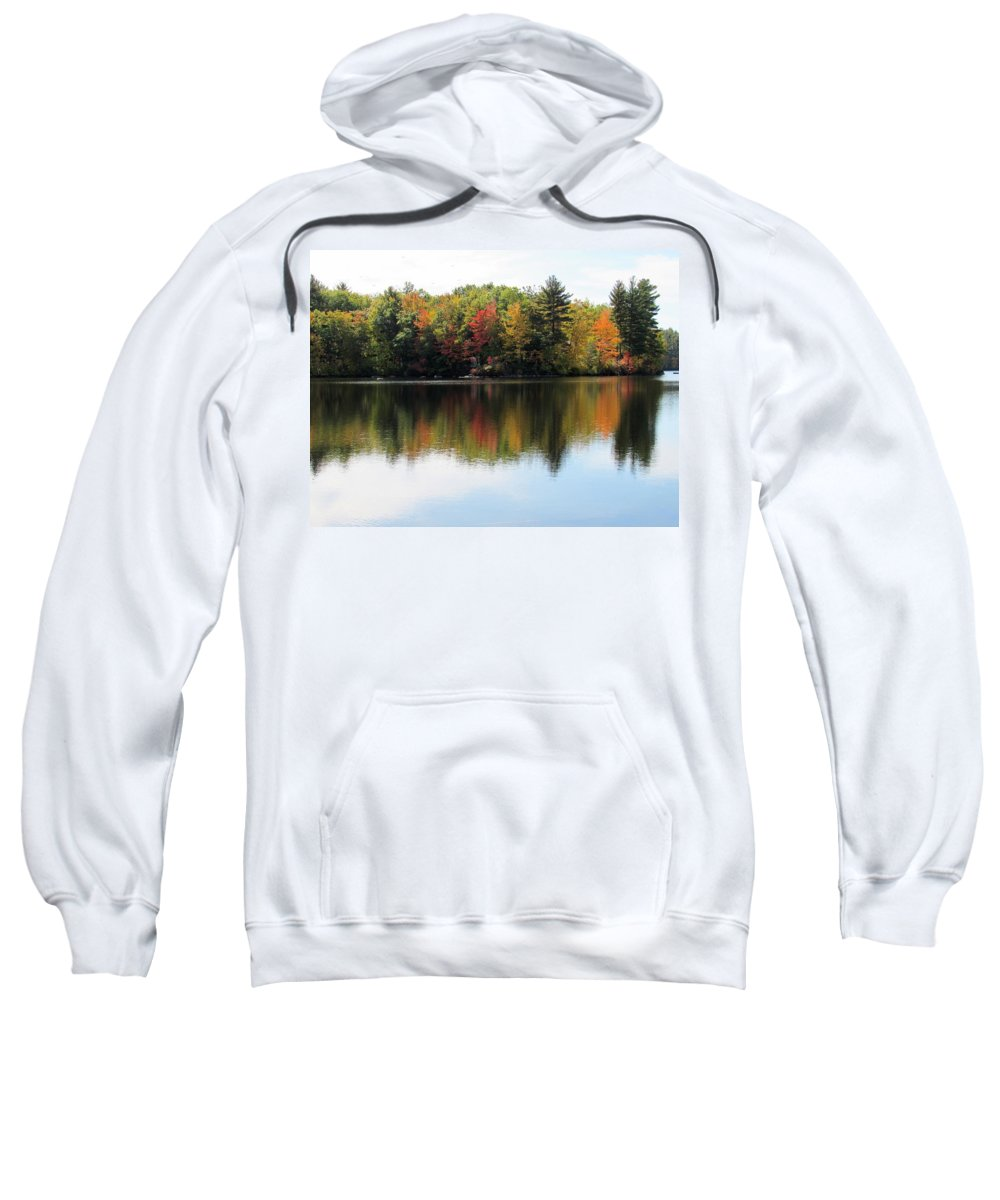 Lynne Miller Sweatshirt featuring the photograph Bunganut Lake Maine Foliage 11 2016 by Lynne Miller