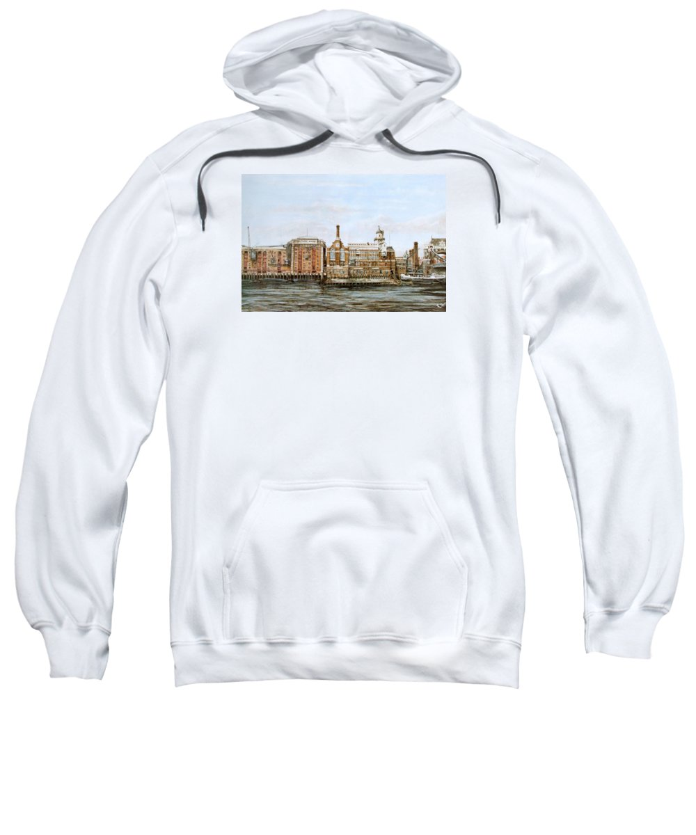 Butlers Wharf Sweatshirt featuring the painting Butlers Wharf And Courage's Brewery by Mackenzie Moulton