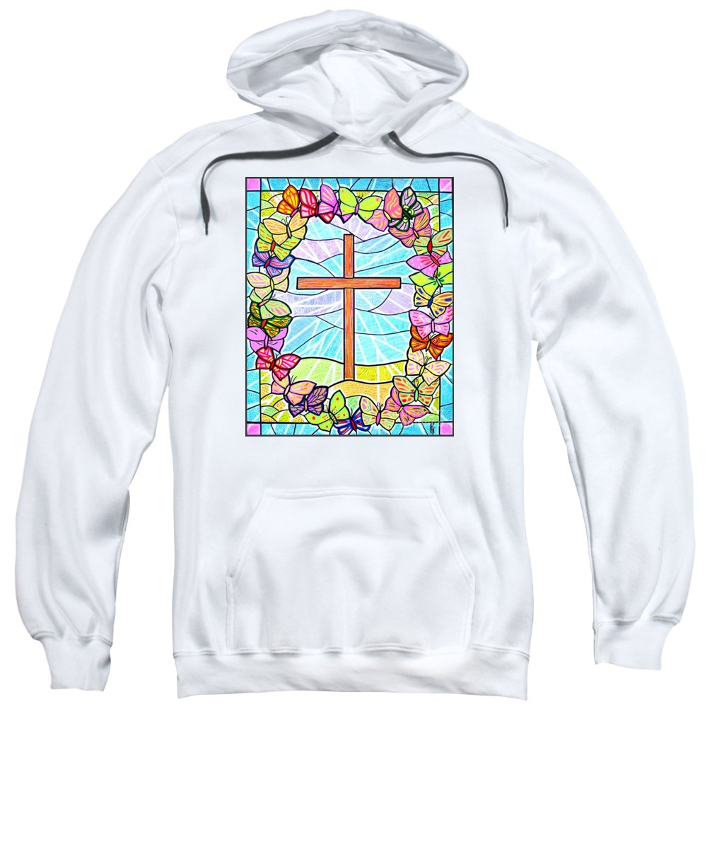 Easter Sweatshirt featuring the painting Butterflies And Cross by Jim Harris