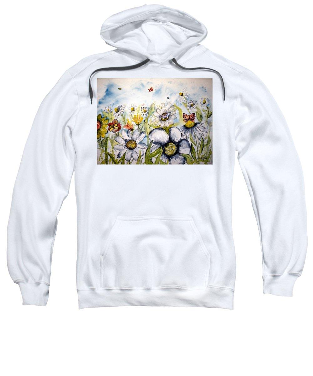Butterfly Sweatshirt featuring the painting Butterflies and Flowers by Derek Mccrea