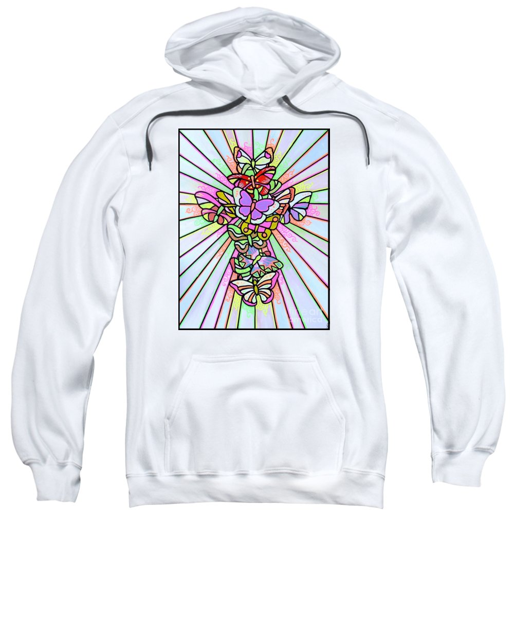 Cross. Easter Sweatshirt featuring the painting Butterfly Cross by Jim Harris