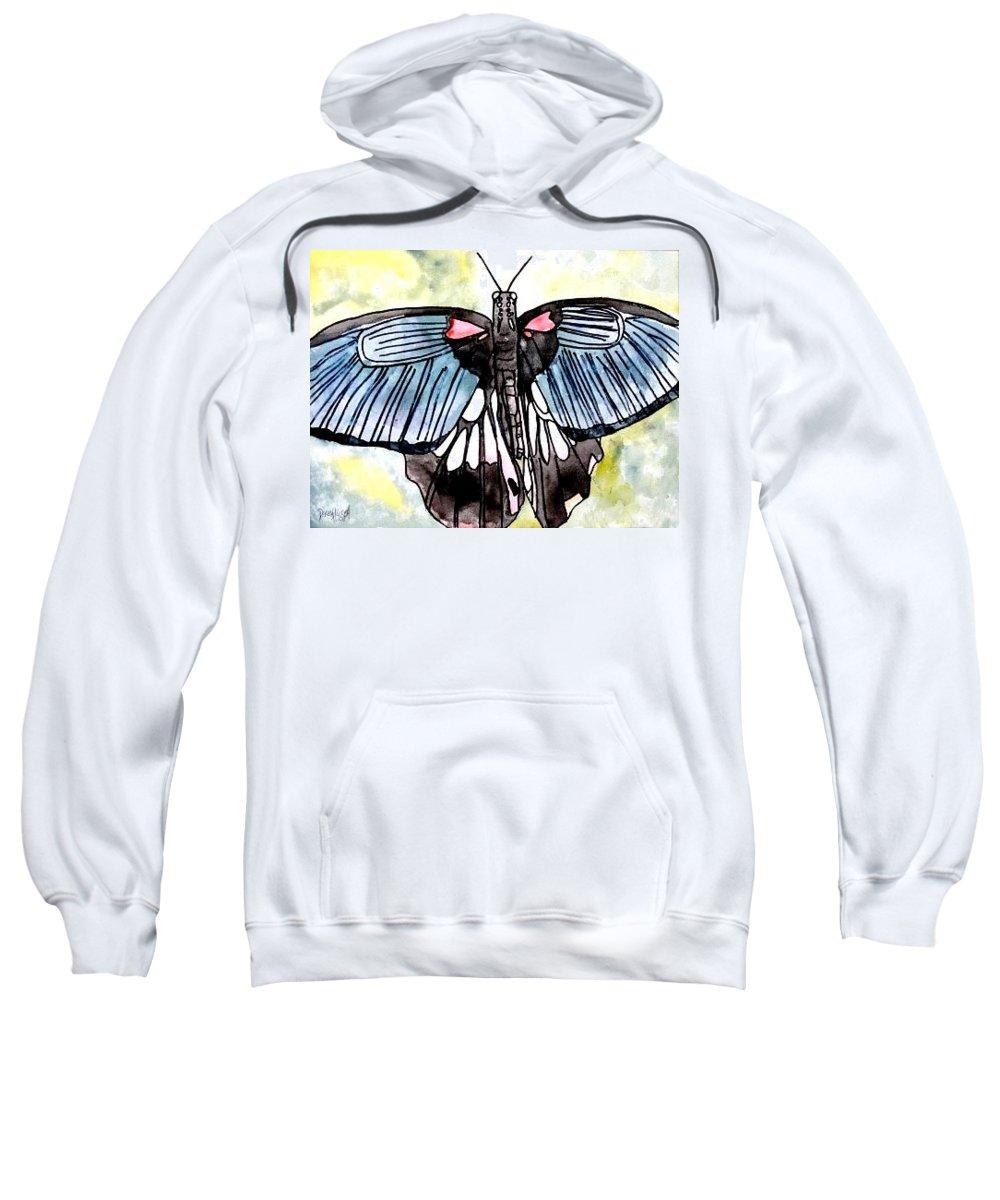 Watercolor Sweatshirt featuring the painting Butterfly Macro by Derek Mccrea