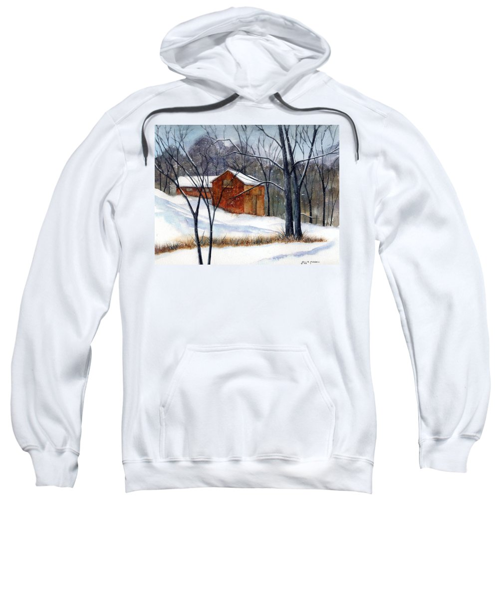 Cabin Sweatshirt featuring the painting Cabin In The Woods by Debbie Lewis