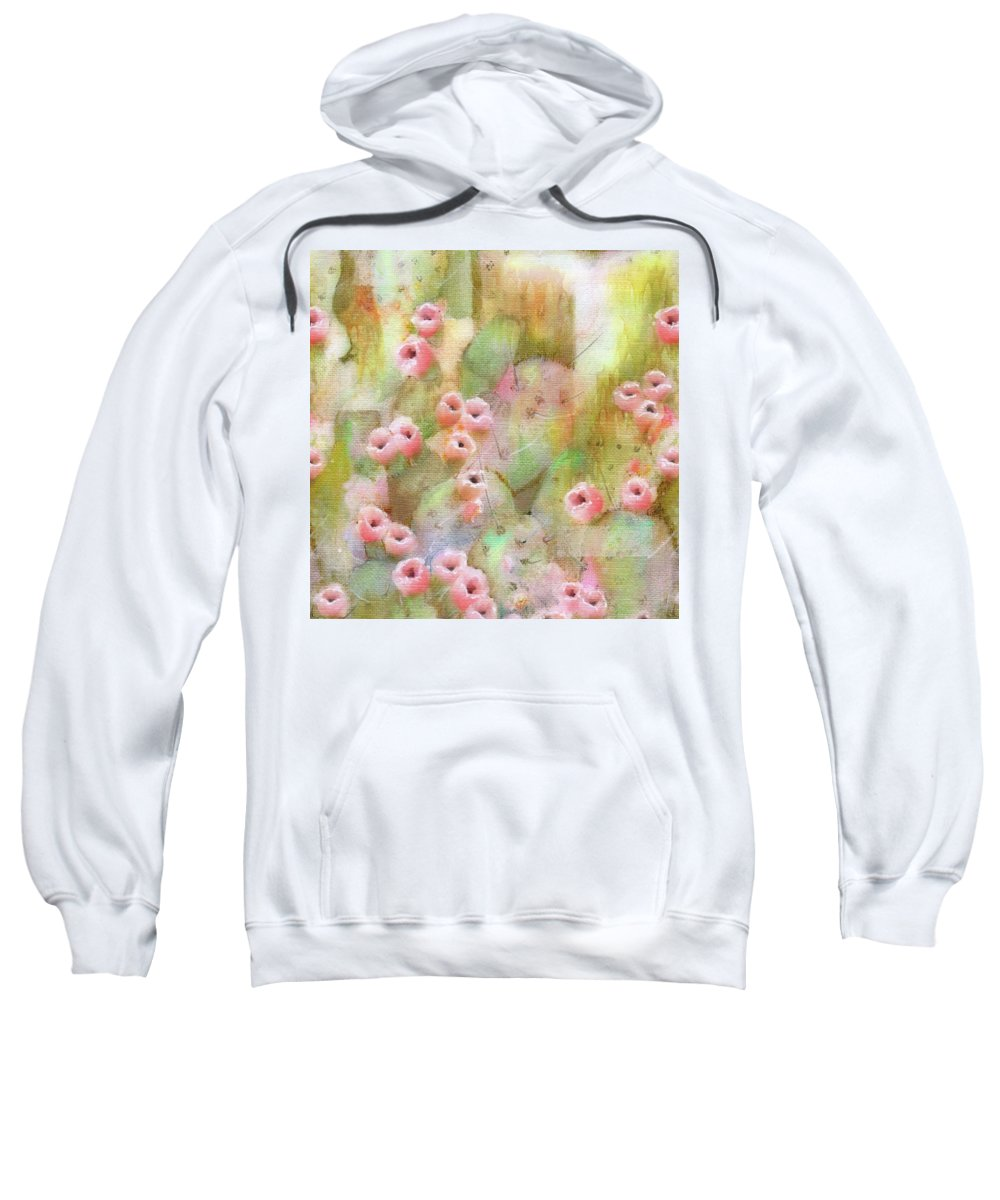 Cactus Sweatshirt featuring the mixed media Cactus Rose by Sand And Chi
