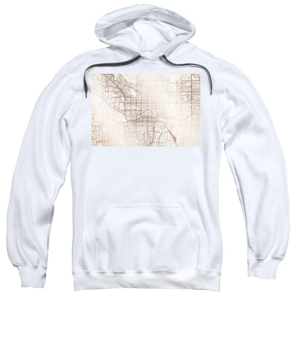 Map Sweatshirt featuring the digital art Calgary Street Map Colorful Copper Modern Minimalist by Jurq Studio