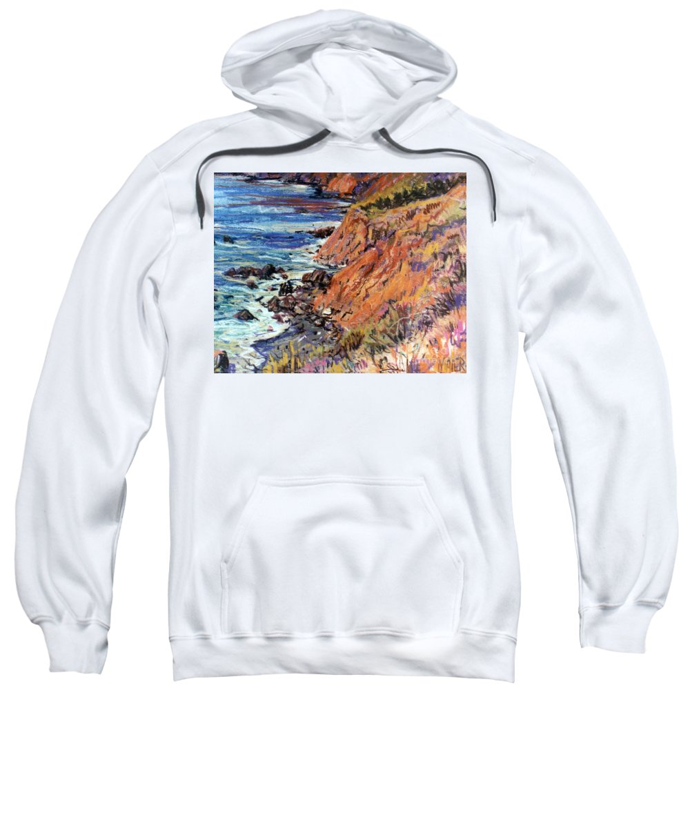 Big Sur Sweatshirt featuring the drawing California Coast by Donald Maier