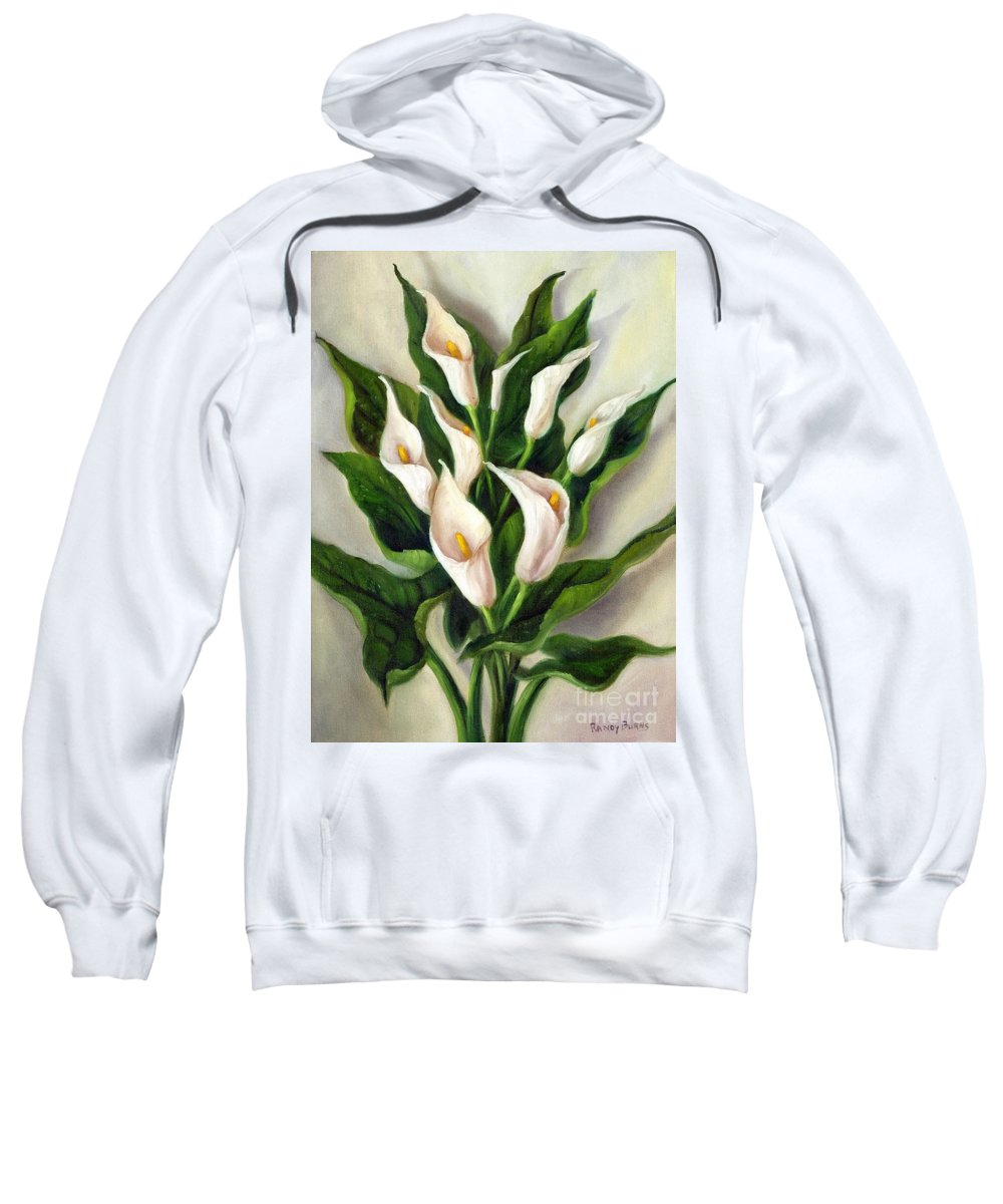 Peace Lily Sweatshirt featuring the painting Calla Lilies by Randy Burns