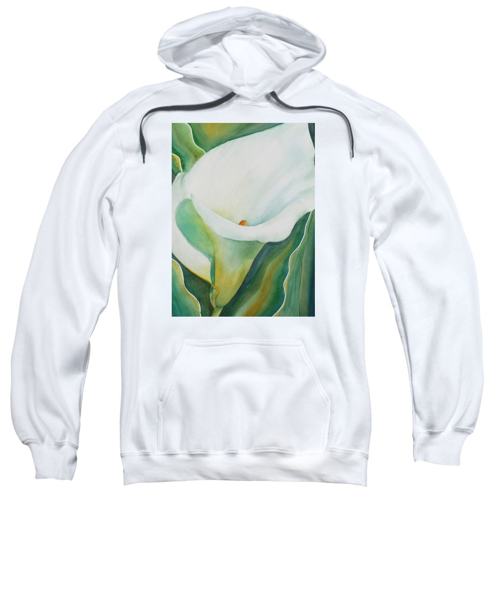 Flower Sweatshirt featuring the painting Calla Lily by Ruth Kamenev