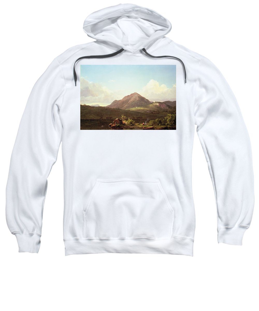 Camp Fire In The Maine Wilderness (oil On Canvas) By Frederic Edwin Church (1826-1900) Sweatshirt featuring the painting Camp Fire In The Maine Wilderness by Frederic Edwin Church