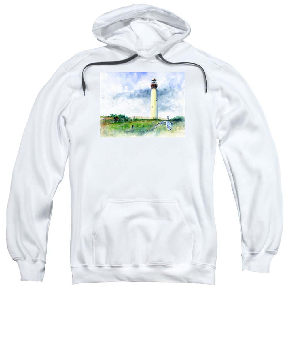 Lighthouse Sweatshirt featuring the painting Cape May Lighthouse by John D Benson