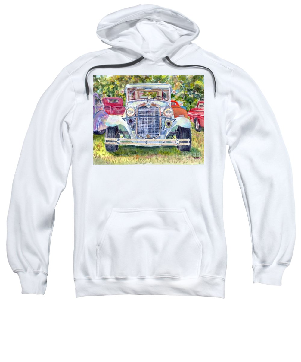 Antique Ford Sweatshirt featuring the painting Car Show by Pamela Parsons