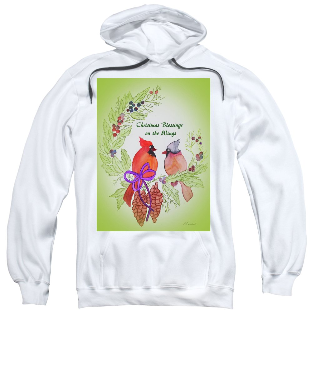 Sweatshirt featuring the painting Cardinals Painted By Marcie Taylor by Marci Taylor