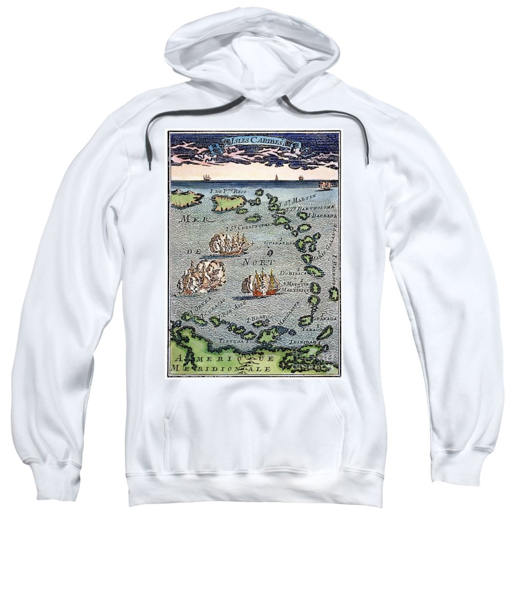 1688 Sweatshirt featuring the photograph Caribbean Map by Granger