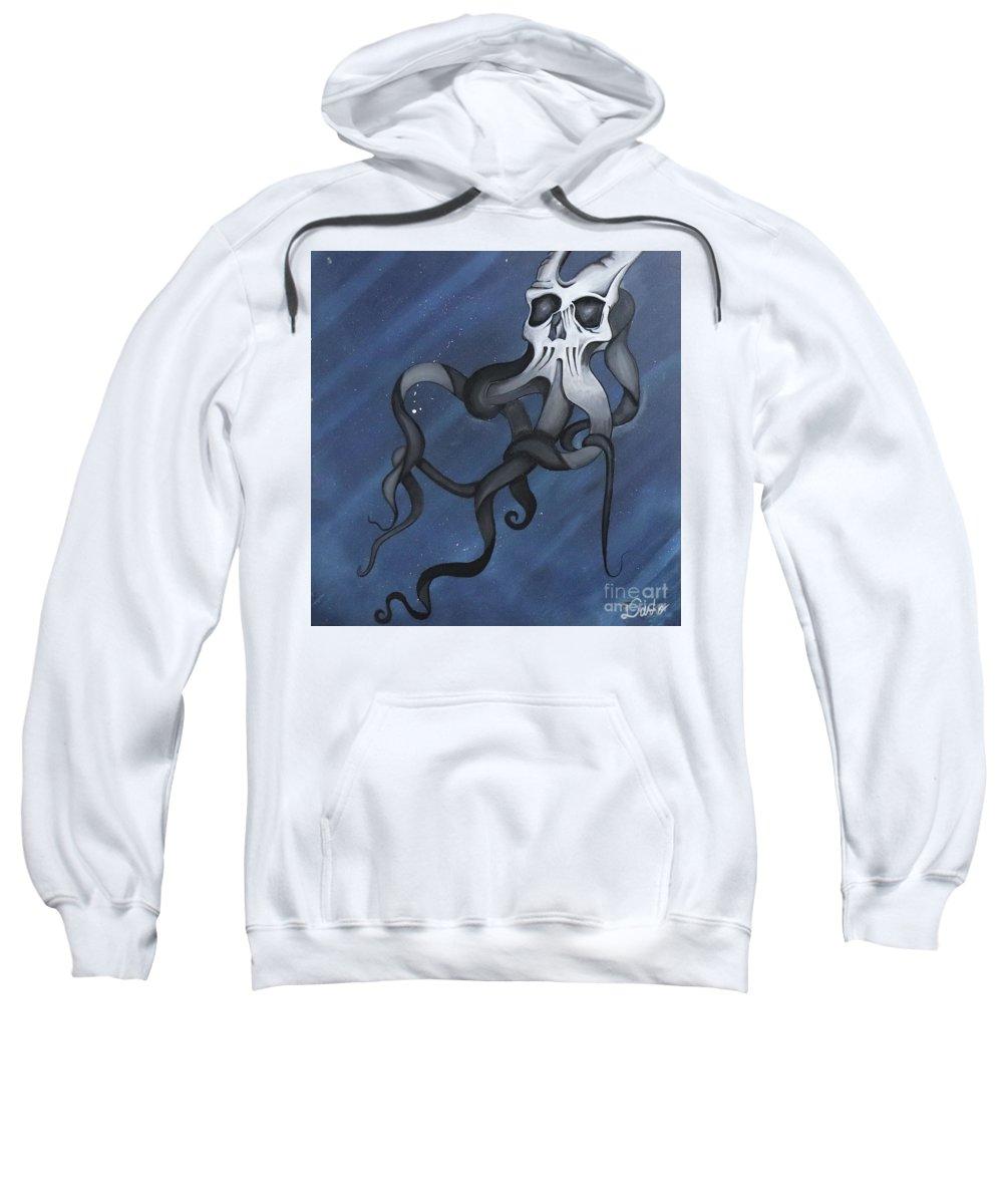 Carlisle Ghost Skull Octopus Space Sweatshirt featuring the painting Carlisle by Jonathan Casillas