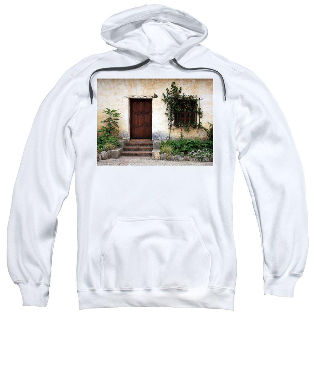 Carmel Mission Sweatshirt featuring the photograph Carmel Mission Door by Carol Groenen