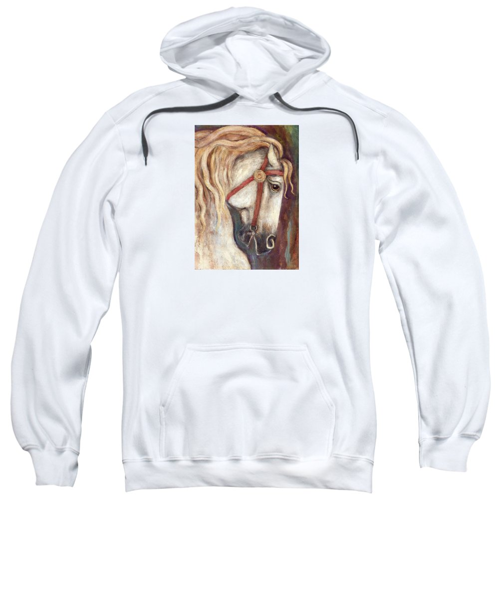 Horse Painting Sweatshirt featuring the painting Carousel Horse Painting by Frances Gillotti