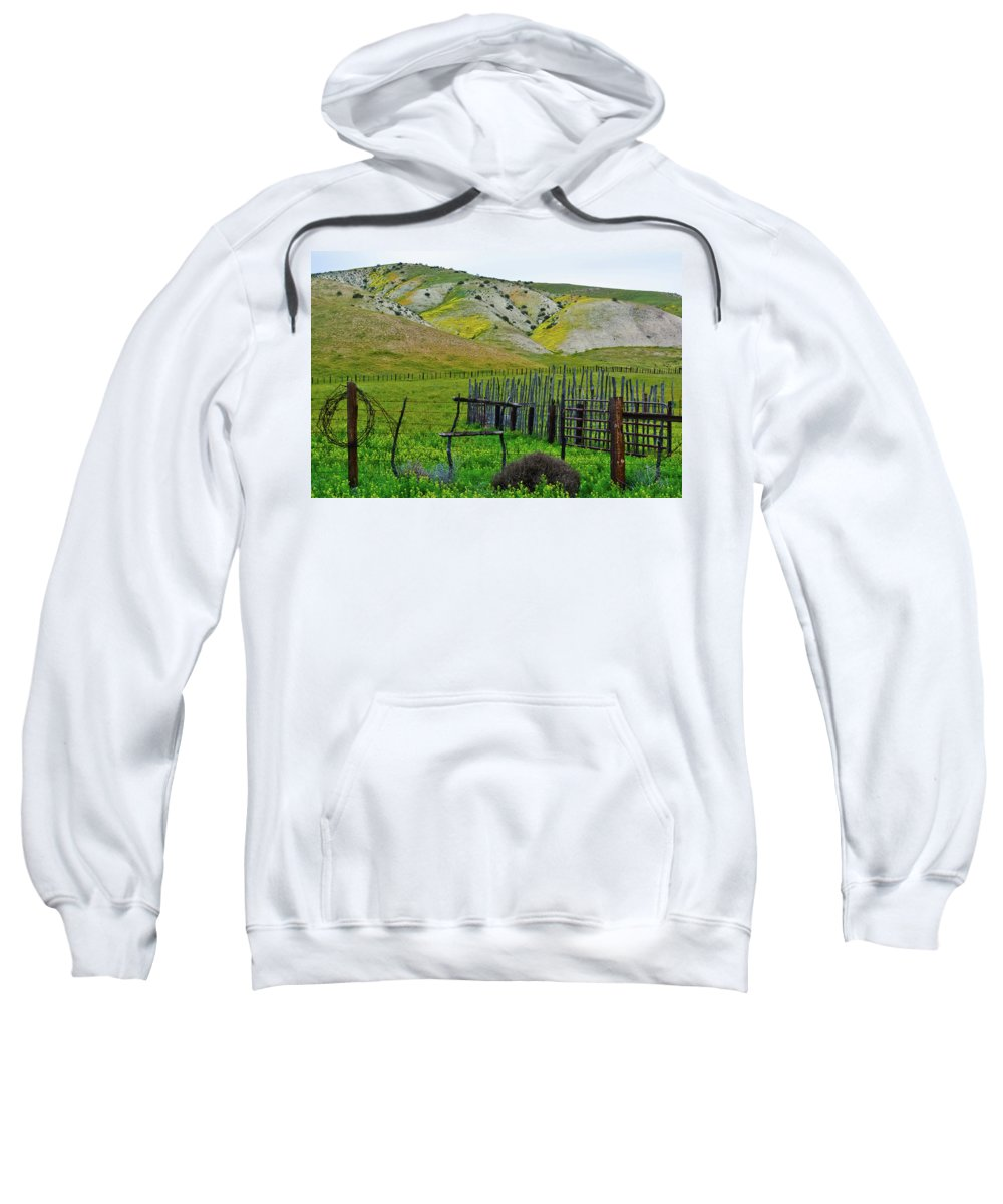 Carrizo Plain National Monument Sweatshirt featuring the photograph Carrizo Plain Ranch Wildflowers by Kyle Hanson