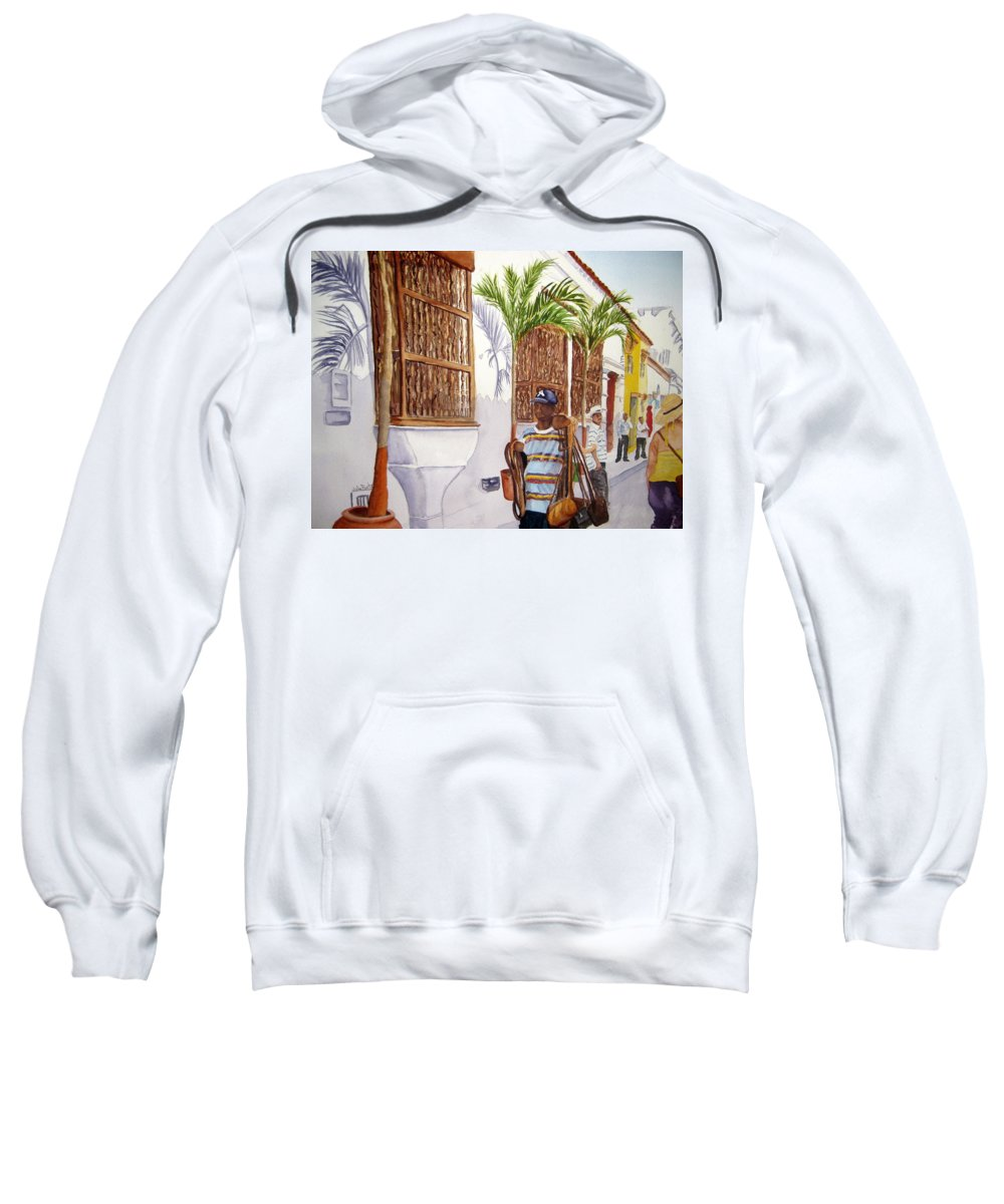 Landscape Sweatshirt featuring the painting Cartagena Peddler I by Julia RIETZ