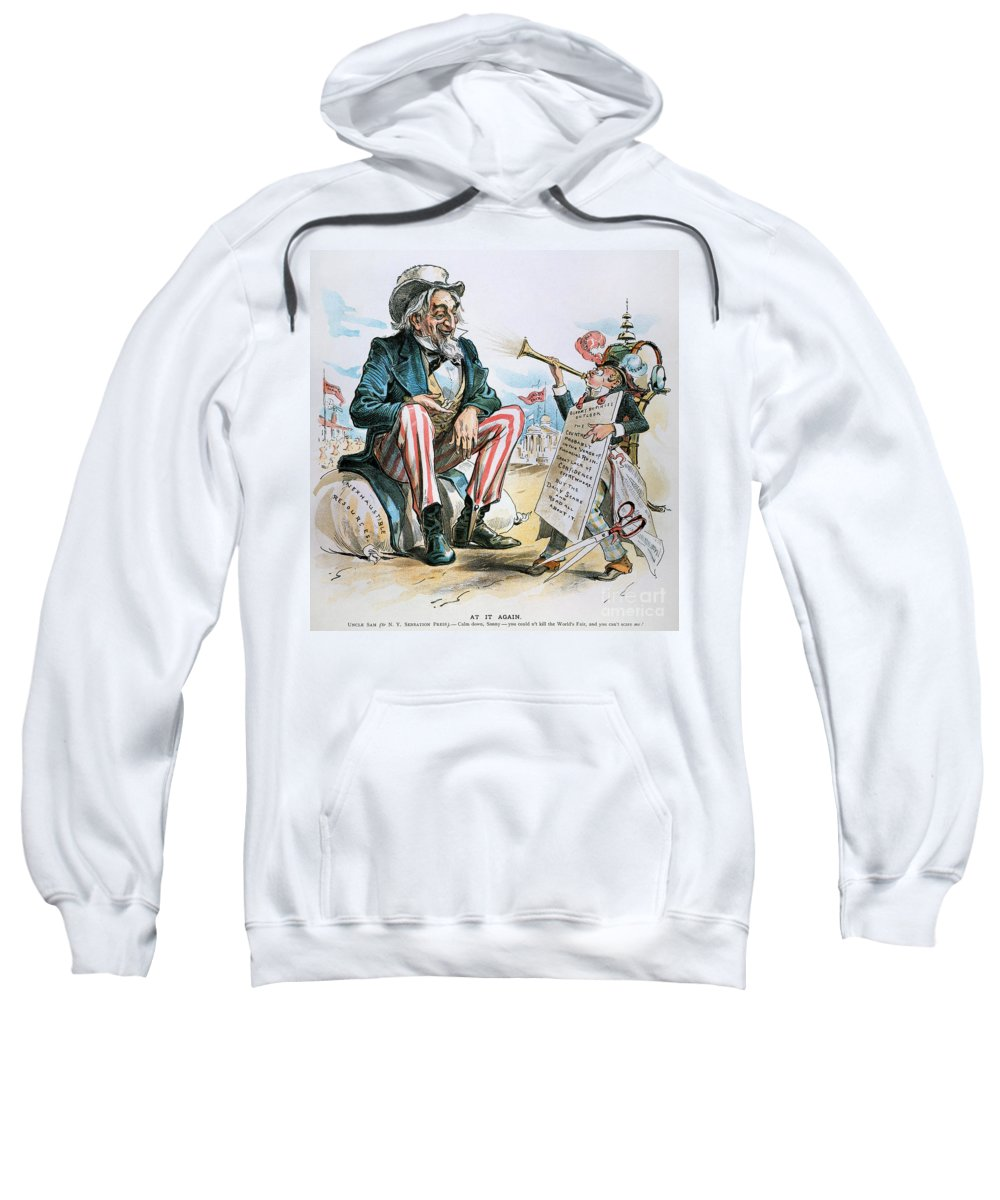 1893 Sweatshirt featuring the photograph Cartoon: Uncle Sam, 1893 by Granger