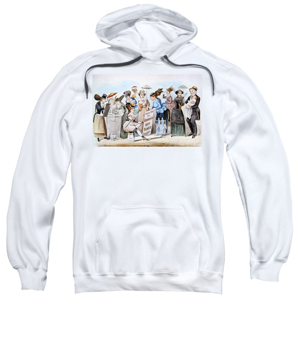 1869 Sweatshirt featuring the photograph Cartoon: Womens Rights by Granger