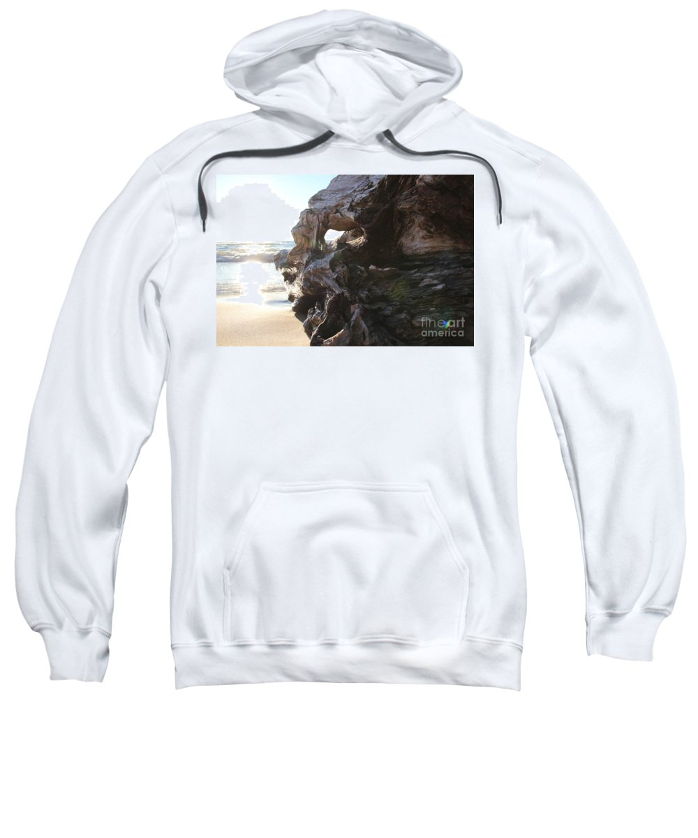 Beach Sweatshirt featuring the photograph Carving Driftwood by Lauren Mohr