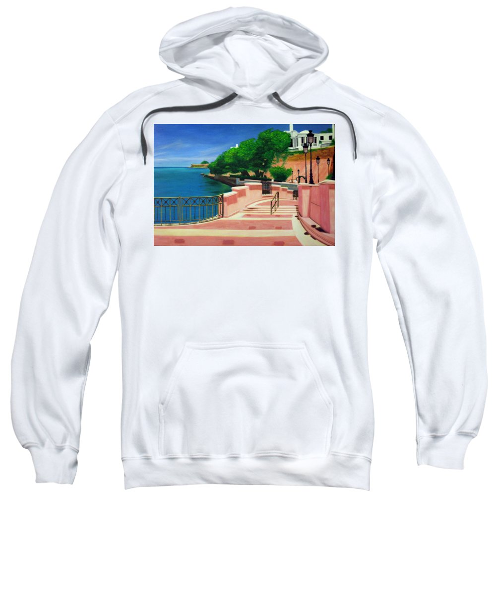 Landscape Sweatshirt featuring the painting Casa Blanca - Puerto Rico by Tito Santiago