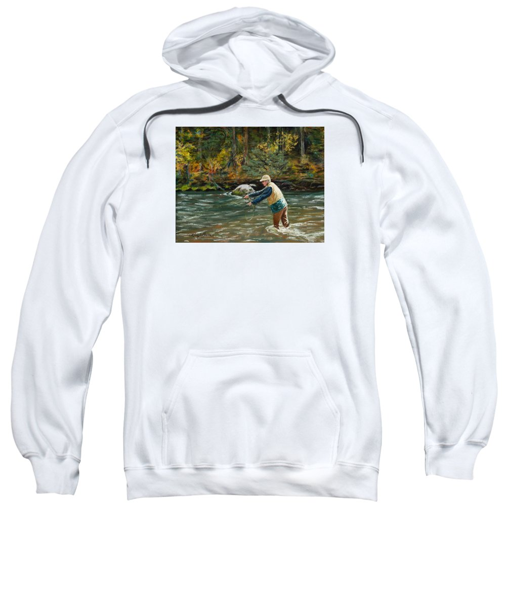 Fly Fishing Sweatshirt featuring the painting Cast Away by Mary Benke